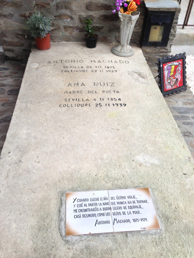 The grave of Spanish poet Antonio Machado and his mother