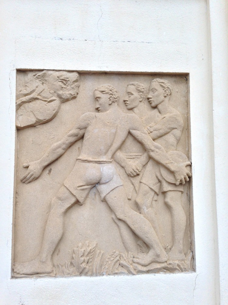 Bas-relief at the entrance to the school, Cerbère