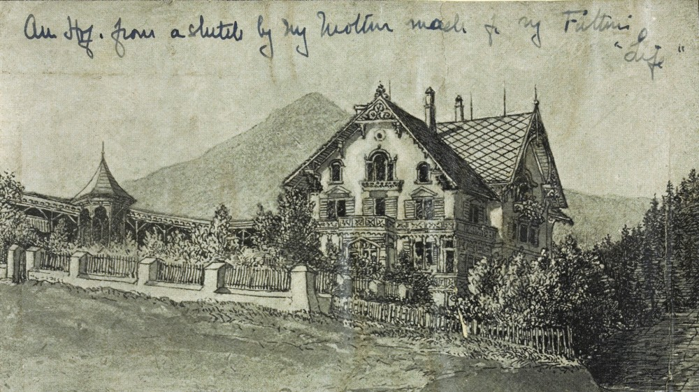 Sketch of Am Hof, Davos, by Catherine Symonds. Library of Bristol University.