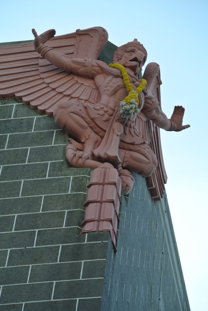 A Garuda overseeing the Central Post Office building in Bangkok