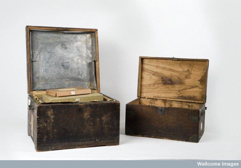 Chests John Thomson used to carry his photographic equipment. Courtesy of the Wellcome Library.