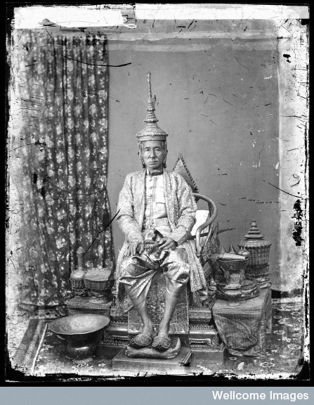 Rama IV, King Mongut, in royal attire on October 6, 1865. Photo by John Thomson. Courtesy of the Wellcome Library.